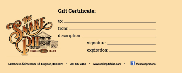 gift pit certificates giftcertificate snake certificate restaurant cards amount drop call any today